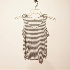 J Brand | Heather Grey Striped Rounded Hem Tank